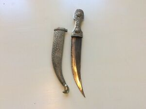 OLD ANTIQUE RUSSIAN CAUCASIAN CURVED KINDJAL DAGGER WITH ARABIC INSCRIPTION