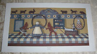 Vtg Pat Pearson It's A Girl Folk Art Nursery Print Signed Numbered Primitive COA