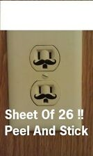 Mustache Vinyl Wall Decal Sticker Electric Outlet Funny Children Fun SHEET OF 45