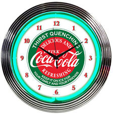 "Coca-Cola Thirst Quenching Evergreen Green Neon Hanging Wall Clock 15"" Diameter"