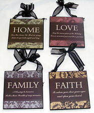 Set of FOUR Timber Wooden Home Decor Signs - Home, Love, Family, Faith - SW58