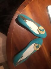 Belmondo Turquoise  Suede Leather Shoes Size 41
