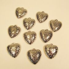10 PC Large Embossed Puffy Heart Silver Color Charms Pendants Wholesale Bulk Lot