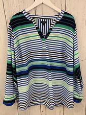 Talbots Women's Striped Top Roll Tab Sleeves Blue Green Size 3xp Plus Petite