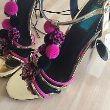 New Limited Edition Gold Party Club Shoes Heels Disco , Primark UK 6 EU 39