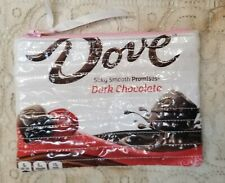Upcycled Dove Dark Chocolate Lined Zippered Pouch Bag