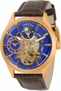 Invicta 30445 Objet D Art 43MM Men's Automatic Skeleton Dial Brown Leather Watch