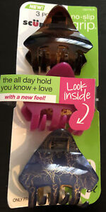 Scunci No Slip Grip Jaw Clips,3 Pc Hair Accessories Brown Pink Gray gold