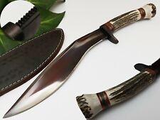 LOUIS SALVATION CUSTOM & HANDMADE CARBON BROWNING STAG ANTLER HUNTING KNIFE