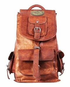 "Leather Men Backpack Bag laptop Travel Rucksack Diaper Bag 20"" Best Quality Hide"