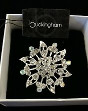 Diamante floral shaped brooch by Buckingham in original box