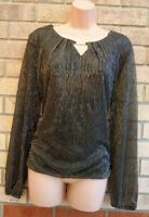 BONMARCHE GOLD BLACK GLITTER SPARKLY LONG SLEEVE PARTY BLOUSE TOP SHIRT 18