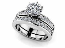 SALE!! WEDDING ENGAGEMENT RING Channel Set Bridal Combination Diamond 14K GOLD