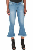 Poetic Justice Women's Curvy Fit 5-Pocket Crop Ruffle Flare Fray Jeans