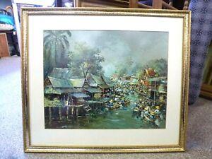 Original vintage Oil Painting Expressionist Thai Thailand scene Eastern Art