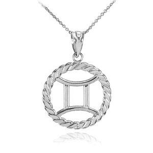 14k White Gold Gemini Zodiac Sign in Circle Rope Pendant Necklace