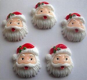 GORGEOUS FATHER XMAS SANTA CHRISTMAS FLATBACK RESIN CAB EMBELLISHMENTS🎅🏻