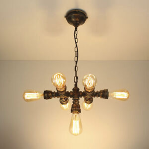 Industrial Steampunk Light Iron Pipe Edison Bulb Ceiling Chain 7 Heads