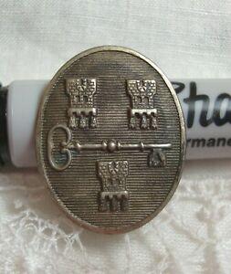 """Antique Metal Picture Button CASTLES & KEY 1"""" x 3/4""""  Double Shank"""