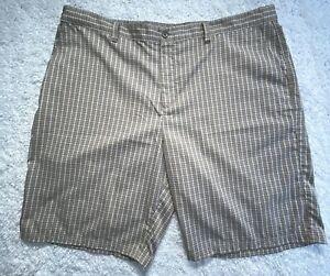 Adidas Golf Shorts Mens Size 42 Plaid Beige Tan Khaki Polyester Flat Front B5