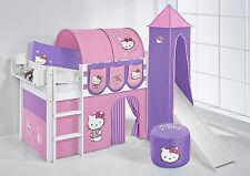Juego de cama alta JELLE BLANCO CON TORRE + Tobogán lilokids Hello Kitty Púrpura