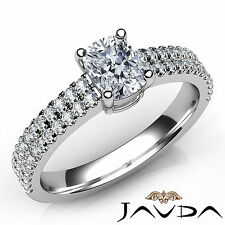U Cut Prong Set Cushion Diamond Engagement Ring GIA H SI1 18k White Gold 1.03Ct