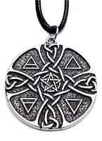Pentacle of Elements Earth Air Fire Water Pagan Talisman Pendant Cord Necklace
