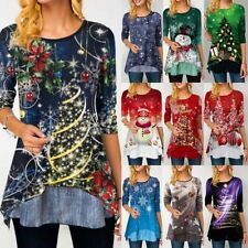 Womens Christmas Snowman Tops Pullover Ladies Long Sleeve Xmas Blouse T Shirt