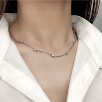 Genuine 925 Sterling Silver Curb Chain Necklace 2  Layers Bead Chain Choker Gift