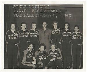 1940 Anico Womens Basketball Team Photo, 1939 AAU Champions Jamie Deckard AAGPBL
