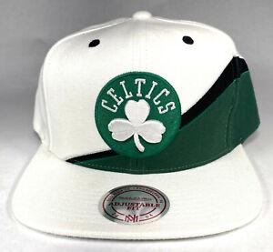 Mitchell and Ness NBA Boston Celtics White Speedway Snapback Hat, Cap, New