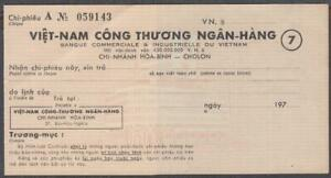 Vietnam South Unused Check From Viet Nam Industry & Trade bank