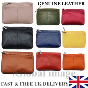 Unisex Ladies Women Genuine Leather Double Zip Coin Note Card Pouch Wallet Purse