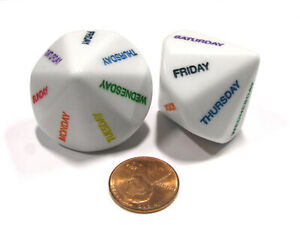 Set of 2 D14 Days of the Week Educational Dice - White with Assorted Colors