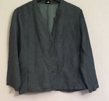 Eileen Fisher Women's Large Gray Linen Long Sleeve Buttoned Cropped Pants Suit