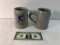 Pair of Lowenbrau Munich German Breweriana Stoneware .5L Liter Beer Stein Mug