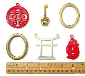 Vintage Lot of 6 Pendants - Solid Brass, Silver & Gold Tone, Red