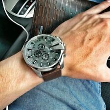 ✅ New In Box DIESEL Mega Chief Gray Dial Brown Leather Steel Men's Watch DZ4290