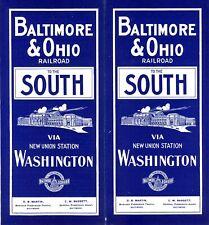 Baltimore & Ohio Railroad SOUTH passenger time table January 21, 1908 -14 panels