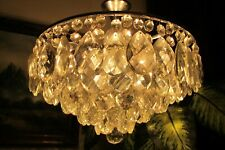 Antique Vnt.PLAFONIER Nickel/Chrome   Crystal Chandelier Light Lamp 1960's