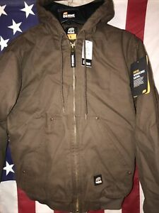 Berne Mens Bark 100% Cotton Hooded Jacket Quilt Lined Bomber Style Size L 44-46