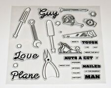 Handyman, DIY, Tools Clear Stamps with Sentiments – FREE P&P - BNIP