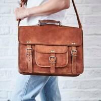 Bag Leather Genuine Men S Vintage Laptop Messenger Briefcase Shoulder Satchel