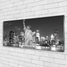 Wandbilder Glasbilder Druck auf Glas 125x50 Freiheitsstatue New York Gebäude
