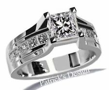2.02ct H-SI1 EGL Princess Cut Diamond Engagement Wedding Ring 14K White Gold PD3