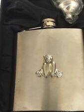 Bear TG76 Fine English Pewter  6oz Captive Top Steel Hip with funnel