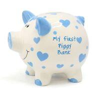 Large  My First Piggy Bank  Blue Hearts Money Bank