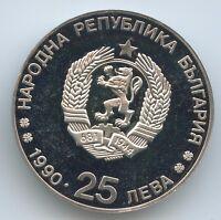 GS982 - Bulgarien 25 Leva 1990 KM#195 Winter Olympiade 1992 Albertville Skilauf