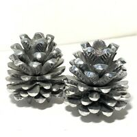 Cast Metal PINE CONE CANDLE HOLDERS 2 Pc SET Rustic Autumn Fall Christmas NATURE