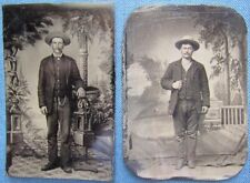 1880's 1/6-plate tintypes of 2 Texas gentlemen from Waco, TX; 1 with cigar